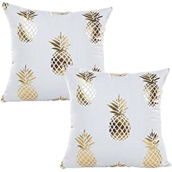 "MHB Modern Decorative Throw Pillow Covers Cushion Cover Gold Foil Pineapple 18"" x 18"" (Pack of 2)"