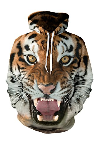 Unisex 3d Tiger Print Hoodies Long Sleeve Sweatshirt Jacket