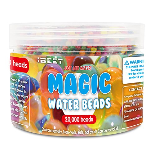 IBEET 20000 PCS Water Beads, Water Gel Beads Pearls for Vase Filler, Wedding Centerpiece, Home Decoration, Plants, Toys, Colorful Crystal Mud Absorbent Swelling Beads
