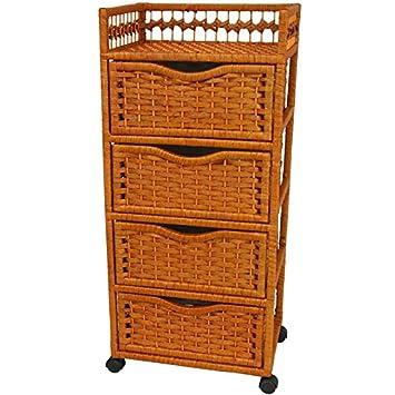 Mocha JH09-069-4-MOC Oriental Furniture 38 Natural Fiber Chest of Drawers on Wheels