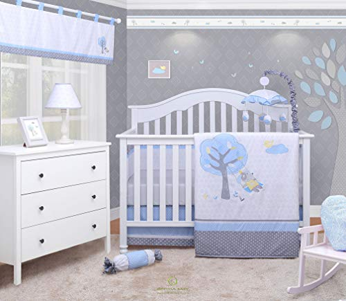 OptimaBaby Blue Little Puppy Dog Boy 6 Piece Baby Nursery Crib Bedding Set