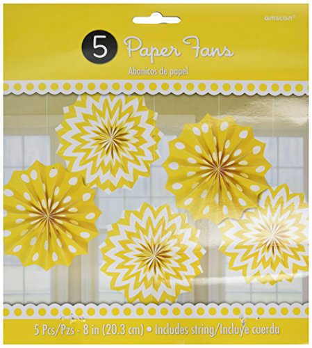 - Amscan 298901.09 Party Supplies Printed Paper Fans - Yellow Sunshine, 8 inches,