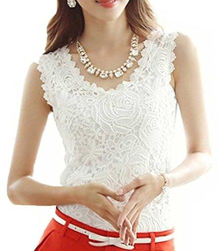 Top Arrow (WEEL ARROW Womens Lace Floral Crochet Knit Vest Tank Top Shirt)