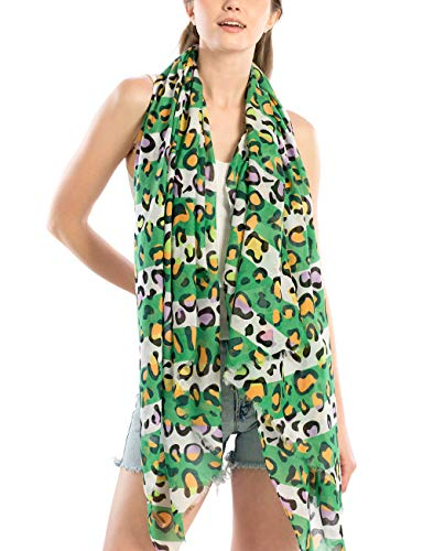 MIRMARU Women's Spring Leopard Print Oblong Scarf Lightweight Multi Color Shawl Wrap Scarves (GREEN) ()