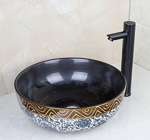 GOWE Sensor Faucet Round Paint Golden Bowl Sinks / Vessel Basins Washbasin Ceramic Basin Sink & Faucet Tap Set 1