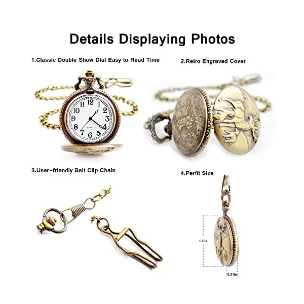 BOSHIYA Men's Pocket Watch Perfect Anniversary Gift Classic Vintage Quartz Watch Animal Deer Pocket Watch Accessories 7