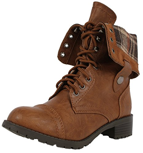 Soda Women's Oralee Lace-up Combat Folded Cuff Riding Mid-Calf Boots Soda, Tan, 8.5 M US
