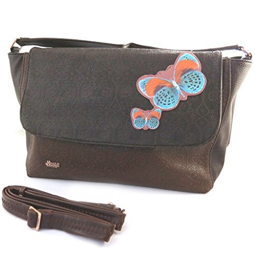 Bag creator 'Mundi'brown (butterflies). - Mundi Brown Handbag