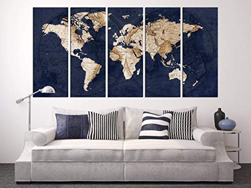 Navy Blue World Map Canvas Art