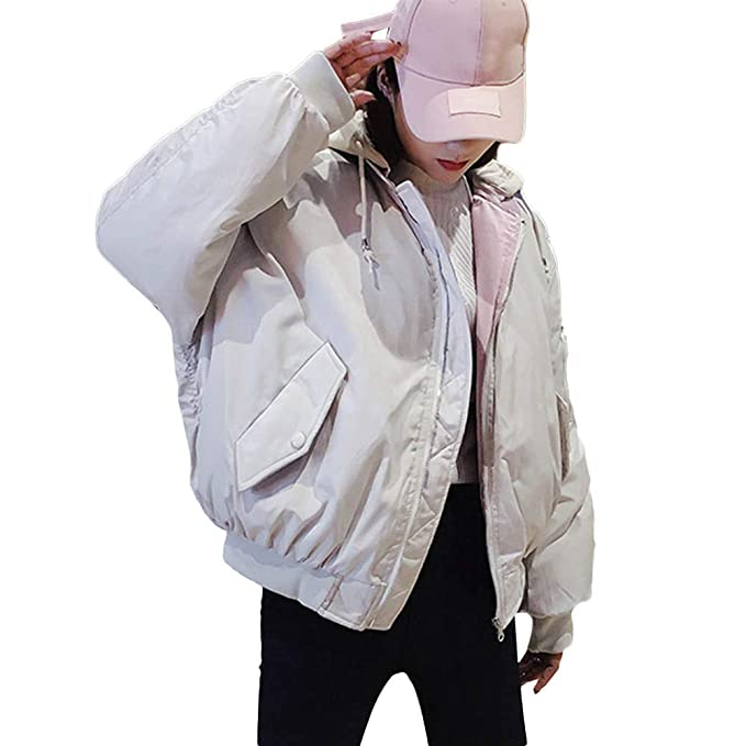Linlink Abrigos de Piel para Mujeres Abrigos de Piel con Capucha Tanto sólido para Usar y Corto párrafo Chaquetas de Vestir de Color sólido y Bolsillo: ...