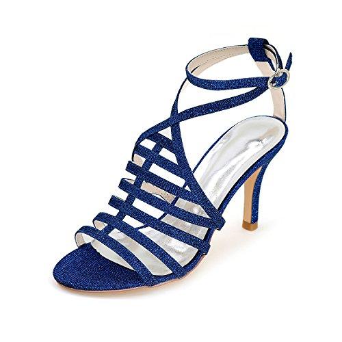 Donne Ballo Nozze Sandali Signore Blu Tsbridal Reale Alti Tacchi Scintillanti Di Scarpe Da FExzqHC
