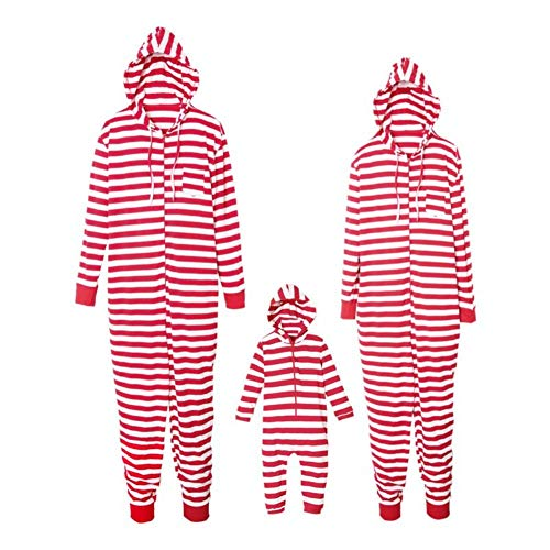 Family Matching Christmas Pajamas Set Onesie Red White Striped Jumpsuit with Hooded Kids Adult Xmas Family Clothes]()