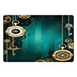 Ambesonne Industrial Pet Mat for Food and Water, Antique Items Watches Keys and Chains with Steampunk Influences… 4