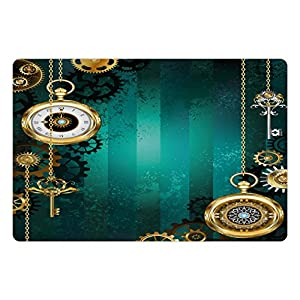 Ambesonne Industrial Pet Mat for Food and Water, Antique Items Watches Keys and Chains with Steampunk Influences Illustration, Rectangle Non-Slip Rubber Mat for Dogs and Cats, Multicolor