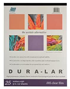 Grafix Clear .005 Dura-Lar Film, 9-Inch by 12-Inch, 25 Sheets