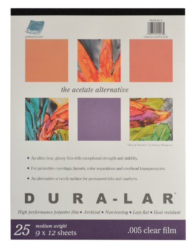 12 X 12 Acetate - Grafix P05DC0912  Clear .005 Dura-Lar Film, 9-Inch by 12-Inch, 25 Sheets