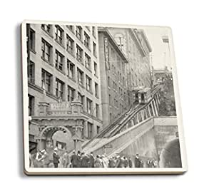 Lantern Press Los Angeles, California - Andels Flight Street Cars - Vintage Photograph (Set of 4 Ceramic Coasters - Cork-Backed, Absorbent)