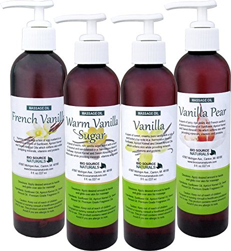 (Vanilla Collection Massage Oil / Body Oil 4 Pack, Each 8 fl. oz. Pump with All Natural Plant)