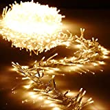 Christmas Cluster Lights 44 Foot Garland with 1300 Warm White Lights on Clear Wire with Remote Control - Raz Exclusive Twinkle Function