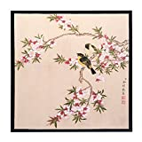 INK WASH Chinese Abstract Love Ink Paintings Hang Wall of Love Birds Spring Song on Flowers Tree Art Wall for Living Room Ready to Hang Framed 13''x13''