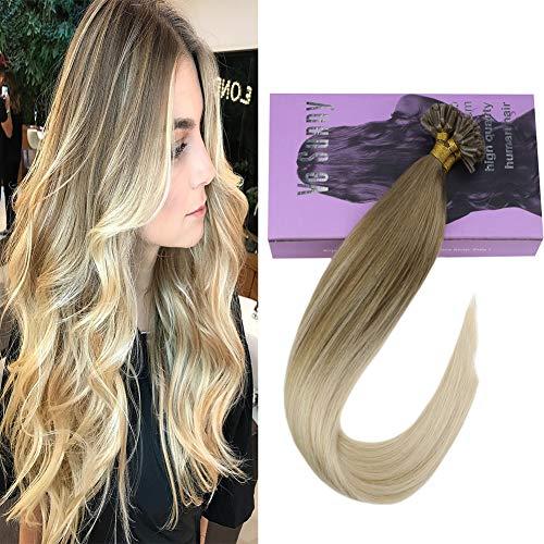 VeSunny 1G/S 50S U-Tip Human Hair Extensions Balayage Color #14 Blonde Mix #60 Platinum Blonde Keratin Bond Nail U Tip Hot Fusion Human Hair Extensions With Salon Style 24inch