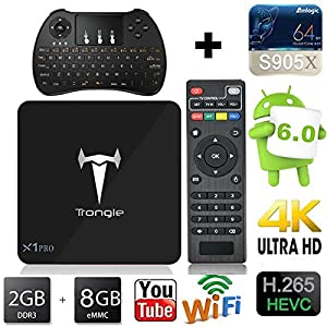 [2017 New Arrivals] Trongle X1 Pro 4K TV Box Android 6.0 Marshmallow 2G/8G Quad Core Amlogic S905X Miracast & Airplay H.265 TV Stick + Mini Wireless Keyboard