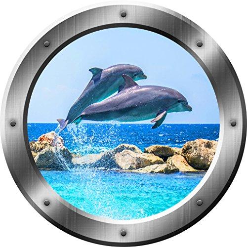 Dolphin Wall Decal Dolphins Porthole 3D Wall Sticker Porpoise Decor VWAQ-SP27 (14 Diameter)
