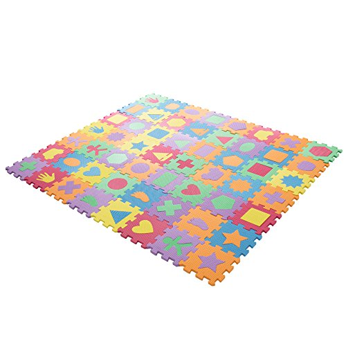 Play Shapes - Interlocking Foam Tile Play Mat with Shapes - Nontoxic Children's Multicolor Puzzle Tiles for Playrooms, Nurseries, Gyms and More