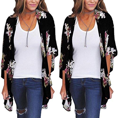 Lavany Women Tops Cover Up Biniki Beachwear Plus Size Chiffon Kimono Blouse For Women (XXXL, Black) - Long Sleeve Bamboo Kimono