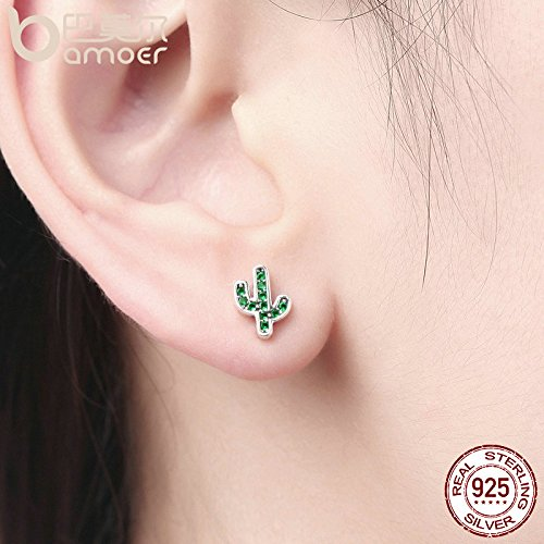 Hot Sale 925 Sterling Silver Dazzling Green Cactus Crystal Stud Earrings for Women Authentic Silver Jewelry Bijoux
