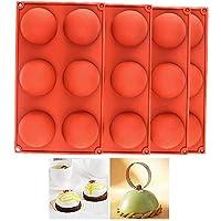 4 Pcs 6 Half Rebound Circle Round Holes Thick Silicone Mold For Chocolate, Cake,Desserts,Baking DIY,BPA Free Cupcake Baking Pan kitchen Bakeware (4 pcs)
