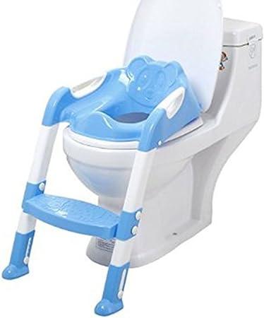 Westeng Escalera de baño de bebé Plástico Bebé WC Silla de Entrenamiento Pedal Antideslizante Altura Ajustable Asiento de bebé portátil (Azul): Amazon.es: Hogar