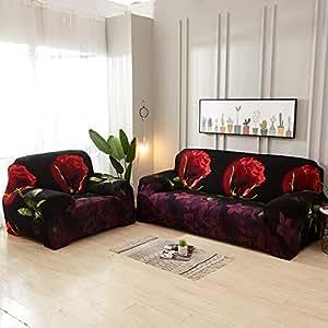 BeesClover - Funda de sofá elástica con Estampado de Rosas ...