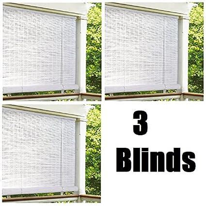Lewis Hyman 0320166 72 X 72 White Roll Up Pvc Porch Patio Lanai Blind Quantity 3