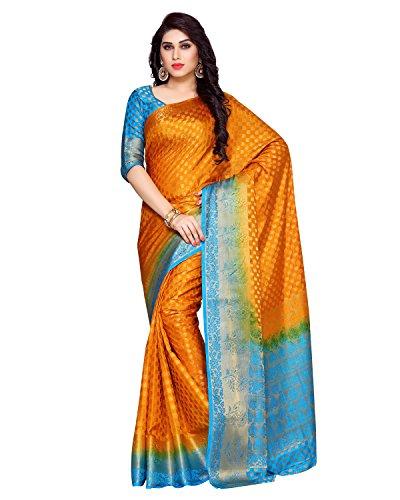 Kupinda Women's Artificial Silk Saree Kanchipuram Style (4025-228-2D-MST-AND) Color: Mustard