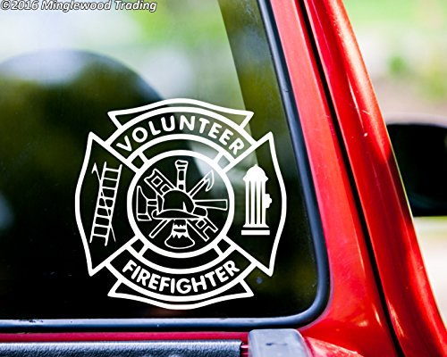 Minglewood Trading VOLUNTEER FIREFIGHTER Vinyl Decal Sticker WHITE 5