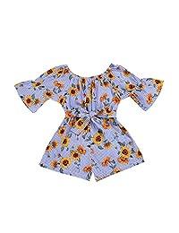 XBRECO Toddler Baby Girls Floral Romper Playsuit Kids Bandage Off Shoulder Jumpsuits