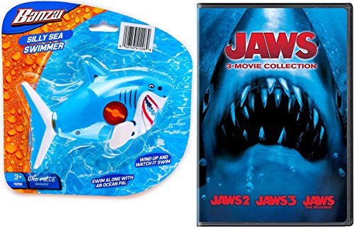 Shark Jaws & 3-Movie Collection DVD Triple Feature Horror Pack & Shark Ocean Life Sea Swimmer wind up Movie Set