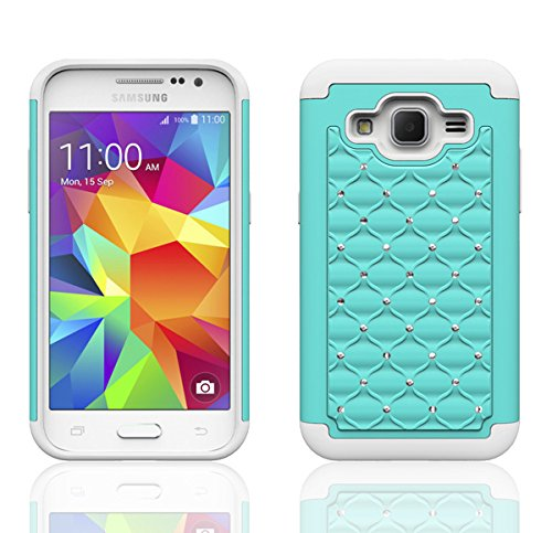 official photos ff3f5 a0f69 Samsung Galaxy Prevail 4G LTE Case, Galaxy Core Prime Case, Hybrid Gel  Protector Cover - Bling Samsung Galaxy Prevail 4G LTE Case, Teal/White