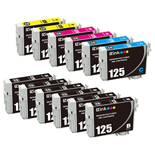 12 Yellow Toner (E-Z Ink (TM) Remanufactured Epson 125 T125 Ink Cartridge Replacement (6 Black, 2 Cyan, 2 Magenta, 2 Yellow) 12 Pack for Stylus NX125 NX127 NX130 NX230 NX420 NX530 NX625 WorkForce WF-320 WF-325 WF-520)