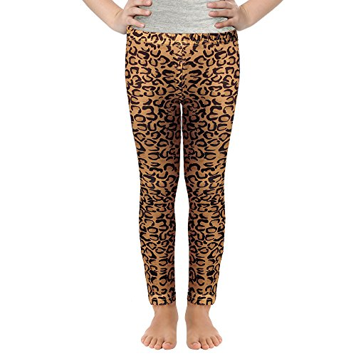 Girls Digital Prints Leggings Owl Mermaid Colored Basic Pants for 3-11Y (Leopard, 150 (10-11Y))