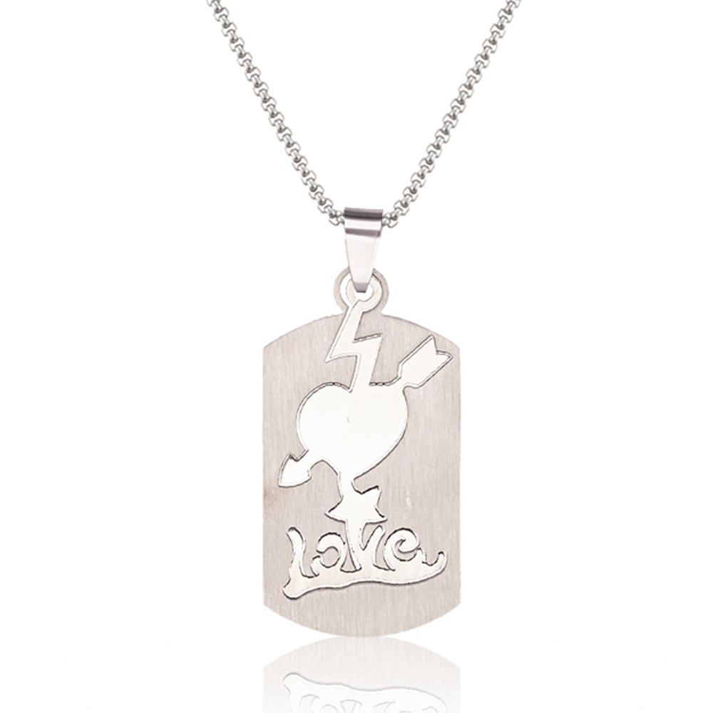 SJ SHI JUN Love At First Sight Heart Pendant Stainless Steel Necklace For Women Men 24