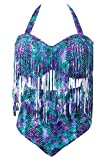 Creabygirls Womens Plus Size Print High Waist Two Piece Tassel Swimsuits (XXX-Large, Green Purple)