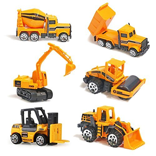 YIMORE Alloy Construction Engineering Truck Models Mini Pocket Size Cake Toppers Play Vehicles Cars Toy for Kids…