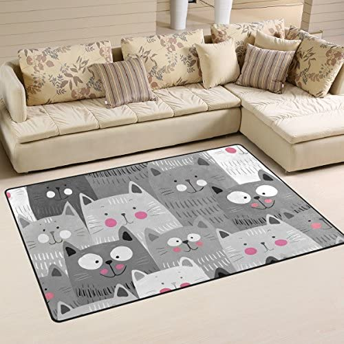 WOZO Cute Gray Cat Kitten Area Rug Rugs Non-Slip Floor Mat Doormats for Living Room Bedroom 60 x 39 inches