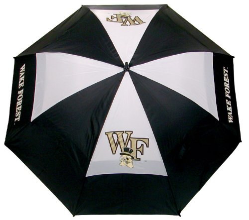"Team Golf NCAA Wake Forest Demon Deacons 62"" Golf Umbrella with Protective Sheath, Double Canopy Wind Protection Design, Auto Open Button"