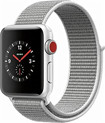 Apple Watch Series 3 38mm Smartwatch (GPS + Cellular, Silver Aluminum Case, Seashell Sport Loop Band) (Renewed)