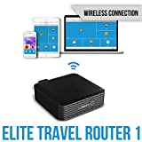 147th Elite Travel Wireless Router - 6000 mAh External Battery Pack, Dual USB Port, AC Charger, Wi-Fi Media Sharing for Flash Drive & Hard Disk Storage, Mini Travel Router