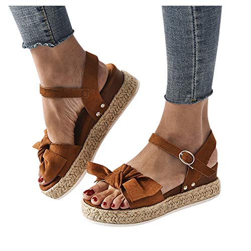 Wedge Sandals for Women Wide,2020 Fashion Wedge Ankle Buckle Sandals Summer Beach Sandals Open Toe Espadrille Platform