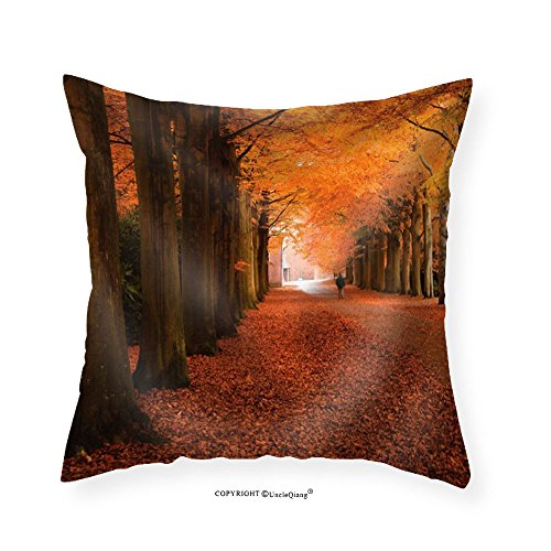 VROSELV Custom Cotton Linen Pillowcase Man Walking on a Road Leading to a Forest During Fall Time - Fabric Home Decor - Quilt Oklahoma To Road